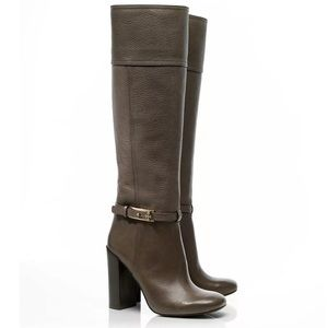 """TORY BURCH """"Jenna"""" Taupe Pebbled Leather Boots"""
